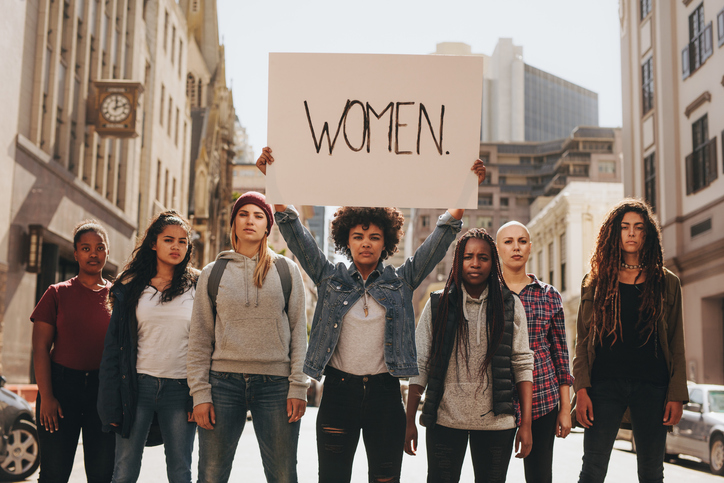Women on the street, protesting